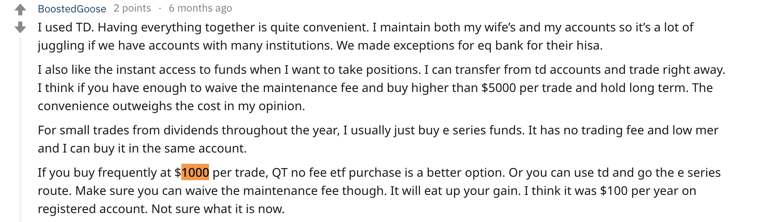 Questrade vs TD Webbroker Reddit Comment #2