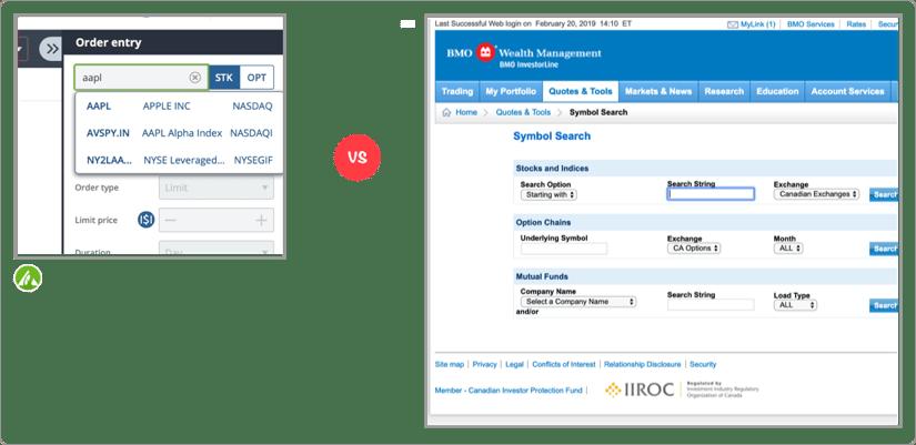 Questrade vs BMO Investorline Search Screenshot