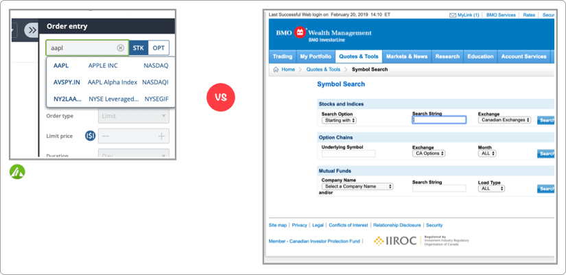 Questrade vs BMO Investorline Search Screenshot