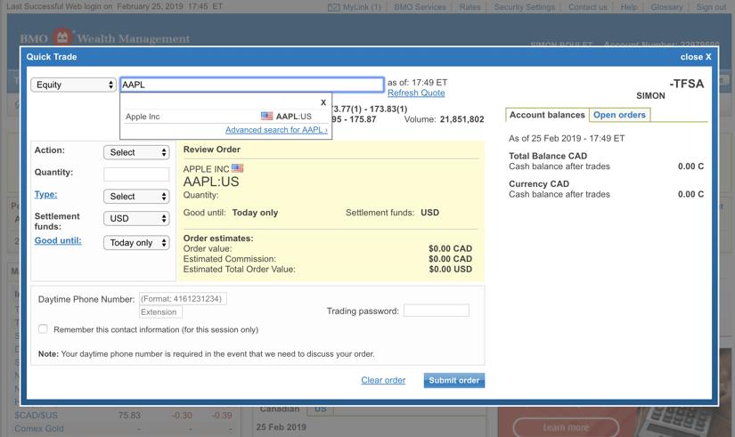 Questrade vs BMO Investorline Trading App Screenshot #1