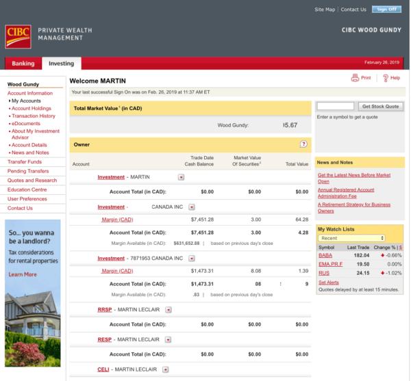 Questrade vs CIBC Investors Edge Screenshot #1
