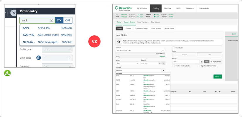 Questrade vs Desjardins Disnat Online Brokerage Screenshot