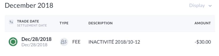 Questrade vs Disnat -- Inactivity Fee