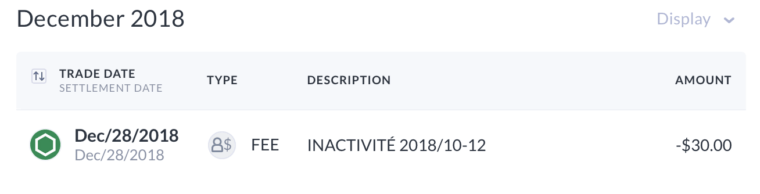 Questrade vs Disnat -- Inactivity Fee