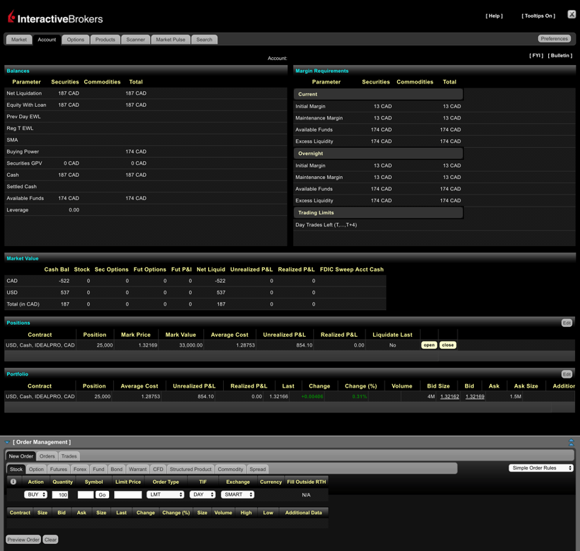Questrade vs Interactive Brokers Trading App Screenshot #1
