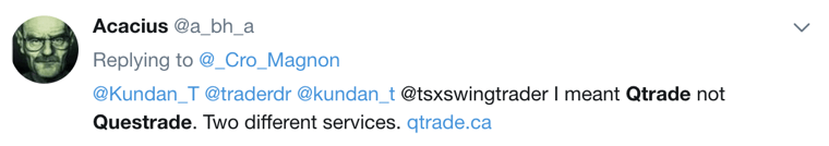 Questrade vs Qtrade Twitter #1