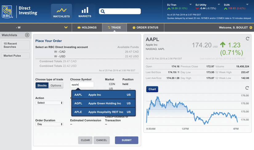Questrade vs RBC Direct Investing Trading App Screenshot #1