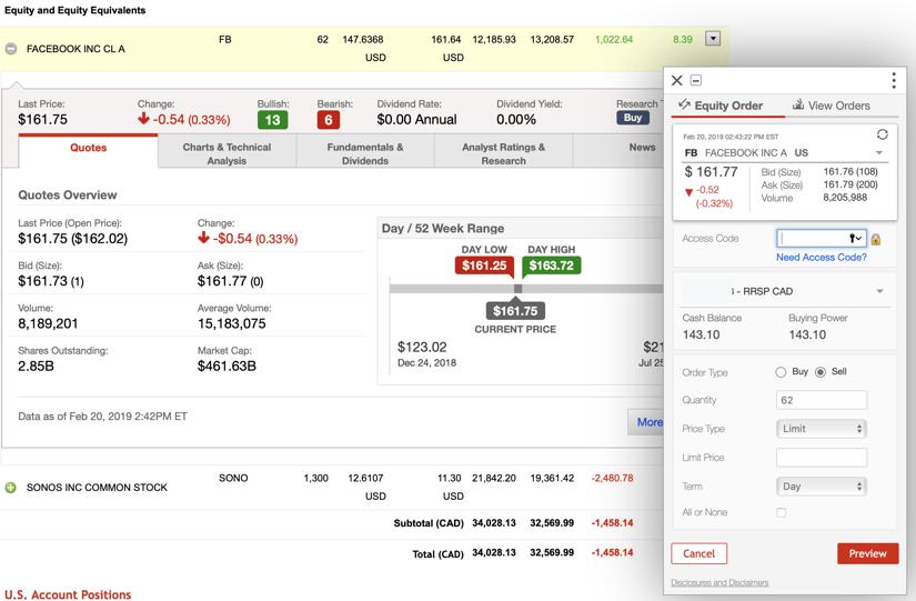 Questrade vs Scotia iTrade Trading App Screenshot #1