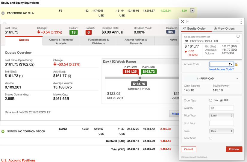 Questrade vs Scotia iTrade Trading App Screenshot #1