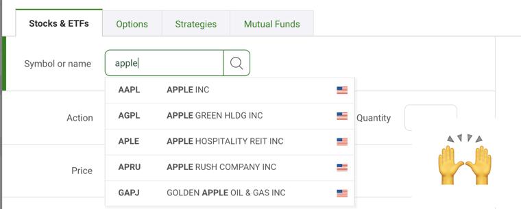Questrade vs TD Webbroker Trading App Screenshot