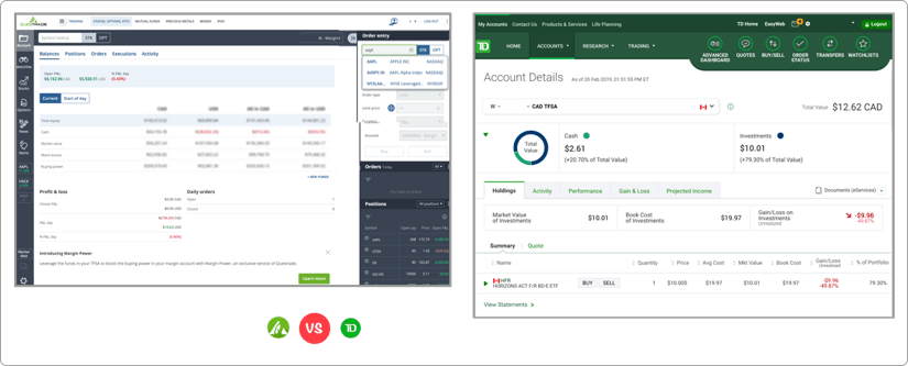 Questrade vs TD Webbroker Trading App Screenshot 1