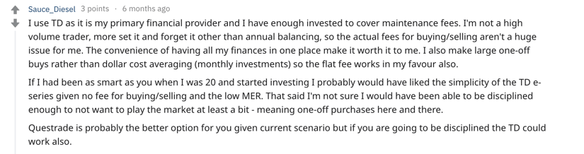 Questrade vs TD DIrect Investing (Webbroker) Reddit Comment #1