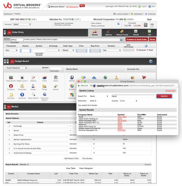 Questrade vs Virtual Brokers Trading App Screenshot