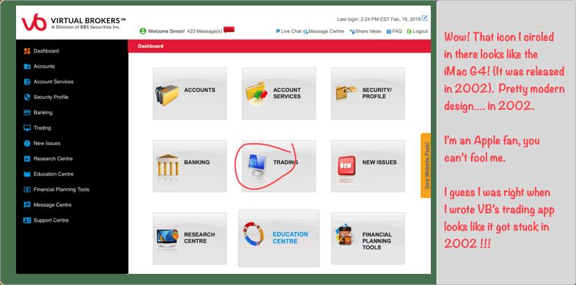 Questrade vs Virtual Brokers Screenshot #1