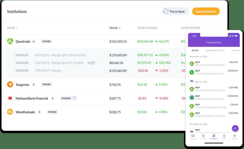 Questrade with wealthica Screenshot