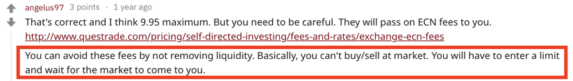 Questrade Reddit How to Avoid ECN Fees