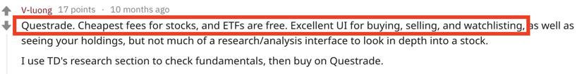 Questrade reddit cheap fees stocks etfs