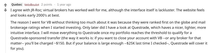 Questrade vs virtual brokers interface reddit