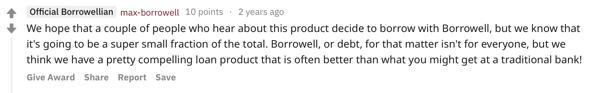 Borrowell explaination business model
