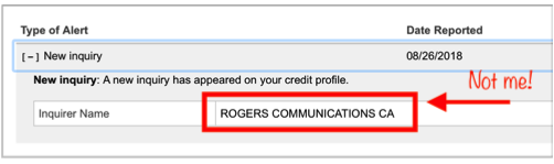 Identity theft rogers inquiry
