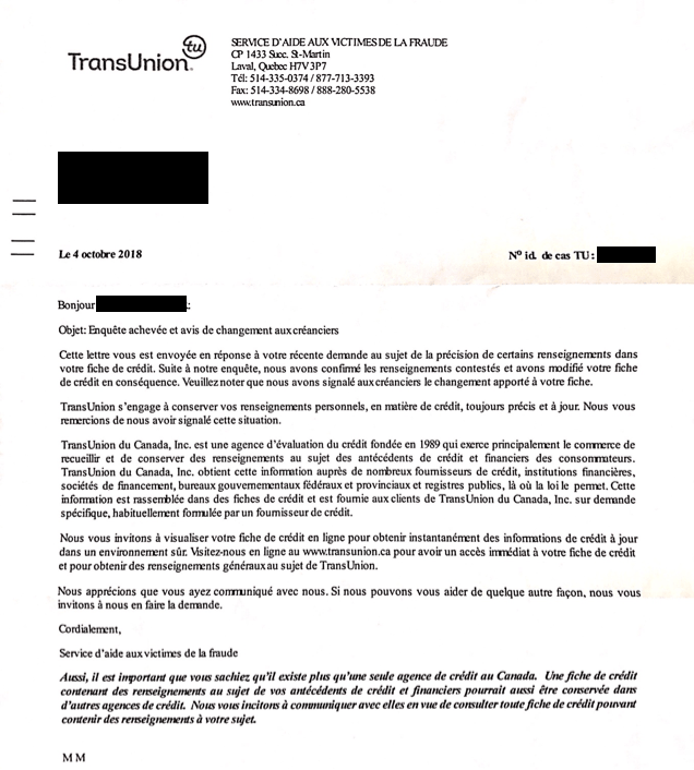 Identity theft transunion confirmation letter
