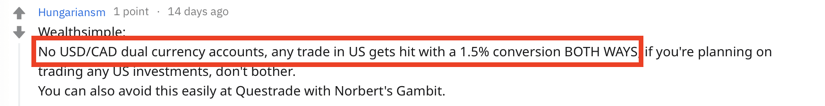 Questrade vs Wealthsimple Trade No Norbert Gambit